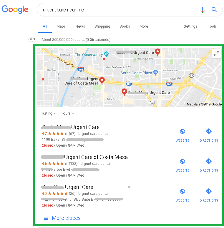 Google Local Pack Results