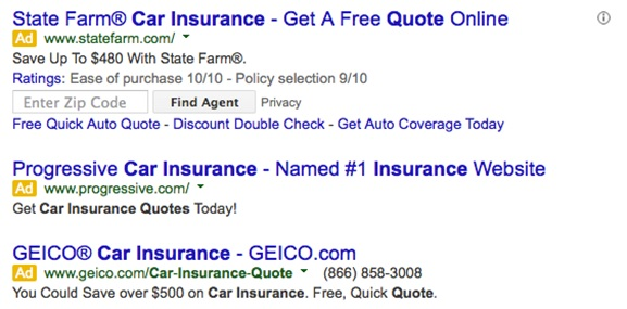 Google Adwords Search Result