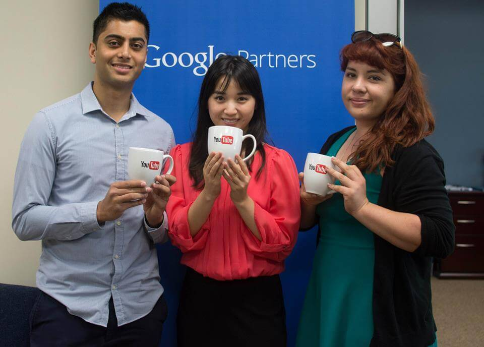 GMR Web Team's Akaash, Michelle and Alexa flaunting the special Youtube cups