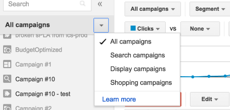 Campaign Type Filters in AdWords