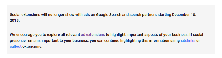 Google AdWords Social extension going away - Google notification