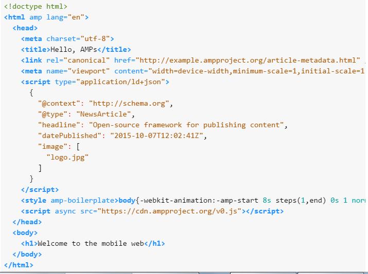 AMP HTML markup
