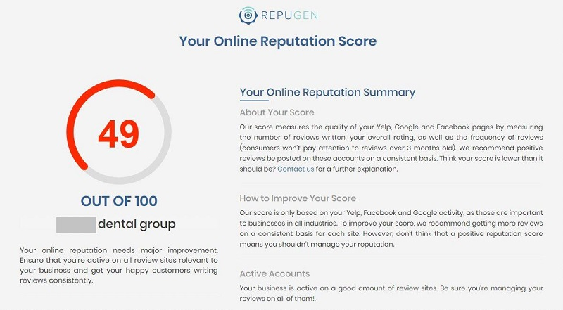 Online Reputation Score Results